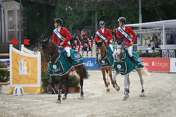 Philippaerts Ludo and Nicola Niels Bruynseels, Constant Van Paesschen and chef d'equipe Kurt Gravemeier<br /> Furusiyya FEI Nations Cup presented by Longines<br /> CSIO Rome 2014<br /> © Hippo Foto - Beatrice Scudo