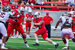 NORMAL, IL - October 02: Cole Anderson holes off Kevin Ellis for runner Cole Mueller during a college football game between the Bears of Missouri State and the ISU (Illinois State University) Redbirds on October 02 2021 at Hancock Stadium in Normal, IL. (Photo by Alan Look)