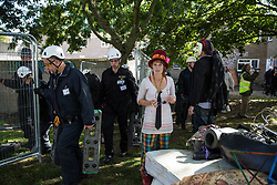 London, UK. 23 September, 2015. Housing activists are evicted by bailiffs from the Sweets Way housing estate. A group of housing activists calling for better social housing provision in London occupied properties on the 142-home estate in Whetstone, in a few cases refurbishing properties intentionally destroyed by the legal owners following eviction of the original residents, in order to try to prevent the eviction of the last resident on the estate and the planned demolition and redevelopment of the entire estate by Barnet Council and Annington Property Ltd.