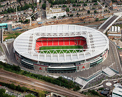Image ©Licensed to i-Images Picture Agency. Aerial views. United Kingdom.<br /> Emirates stadium, home of arsenal FC. Picture by i-Images