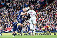 Scotland forward Steven Naismith (10) (Heart of Midlothian) heads on goal during the Friendly international match between Scotland and Portugal at Hampden Park, Glasgow, United Kingdom on 14 October 2018.