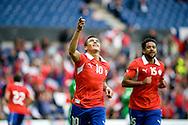 14.09.13. Brondby, Denmark.Chile's Alexis Sanchez celebrates scoring the first goal against Irak during the international friendly match at the Brondby Stadium in Denmark.Photo: © Ricardo Ramirez