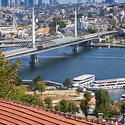 View of Golden Horn and Metro bridge, Istanbul, Turkey