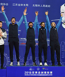 WUXI, July 27, 2018  Gold-medalists players of Italy celebrate during the awarding ceremony for the men's foil team competition at the Fencing World Championships in Wuxi, east China's Jiangsu Province, July 27, 2018. Italy beat the US 45-34 in the final and claimed the title of the event. (Credit Image: © Li Bo/Xinhua via ZUMA Wire)