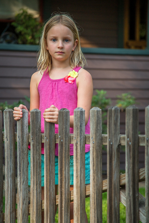 My neighbor and always willing photographic subject, Ella Fitzpatrick, stands in front of her friend's house in Calistoga.