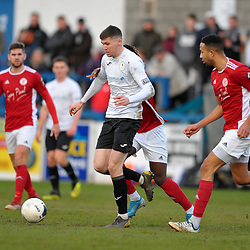 TELFORD COPYRIGHT MIKE SHERIDAN Matt Stenson of Telford (on loan from Solihull Moors) during the Vanarama Conference North fixture between AFC Telford United and Brackley Town at the New Bucks Head on Saturday, January 4, 2020.<br /> <br /> Picture credit: Mike Sheridan/Ultrapress<br /> <br /> MS201920-039