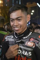 October 31, 2018 - Kuala Lumpur, Malaysia - Malaysian Moto3 rider Adam Norrodin of SIC Racing Teamspeaks to the media during a MotoGP pre-event ahead of Malaysian Grand Prix in Kuala Lumpur, Malaysia on October 31, 2018. (Credit Image: © Zahim Mohd/NurPhoto via ZUMA Press)