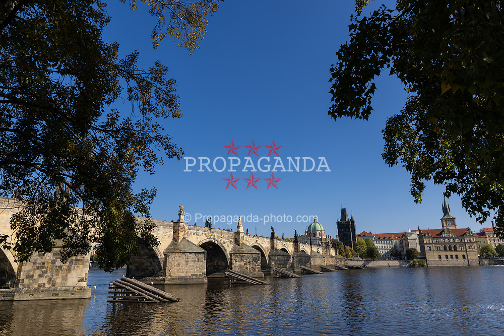 PRAGUE, CZECH REPUBLIC - Friday, October 8, 2021: The Charles Bridge crossing the Vltava river in Prague. (Pic by David Rawcliffe/Propaganda)