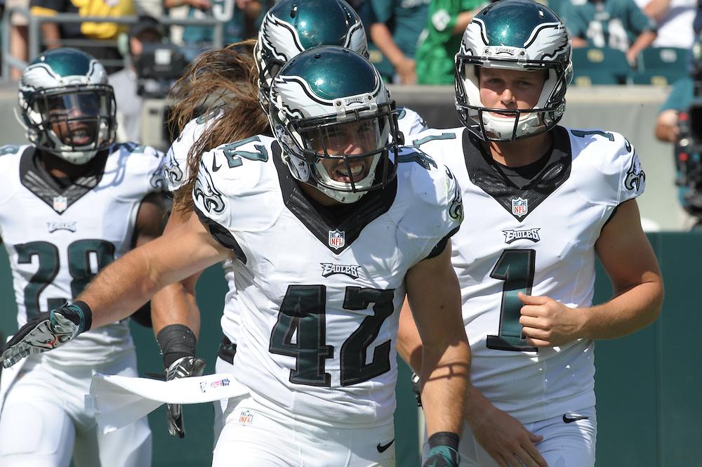 Chris Maragos #42 of the Philadelphia EaglesEagles vs Jacksonville @ Phila. Sept.7, 2014(Photo by Ed Mahan)