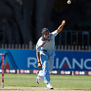 Shravanti Naidu bowling during the match between New Zealand and India in the Super 6 stage of the ICC Women's World Cup Cricket tournament at North Sydney  Oval, Sydney, Australia on March 17, 2009. New Zealand beat India by 5 wickets. Photo Tim Clayton