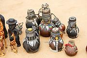 Africa, Ethiopia, Omo River Valley Hamer Tribe handicraft gourd jugs on display
