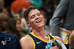 November 23, 2017 - Salt Lake City, UT, USA - 171117 Utahs Jonas Jerebko skrattar under basketmatchen i NBA mellan Utah Jazz och Chicago Bulls den 22 november 2017 i Salt Lake City  (Credit Image: © Joel Marklund/Bildbyran via ZUMA Wire)