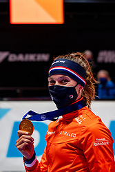 Suzanne Schulting of Netherlands gold medal on 1500 meter during ceremony ISU World Short Track speed skating Championships on March 06, 2021 in Dordrecht