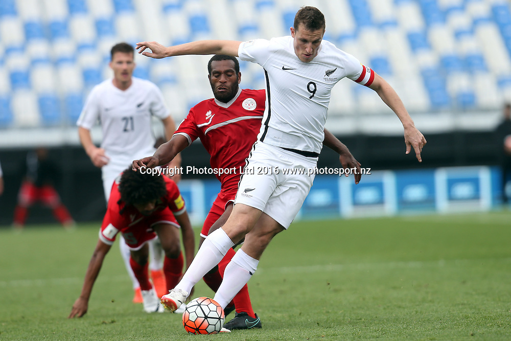All Whites Chris Wood leaves the New Caledonia defence in his wake. 2018 FIFA World Cup Russia Qualifier, New Zealand v New Caledonia, QBE Stadium Auckland, Saturday 12th November 2016. Copyright Photo: Shane Wenzlick