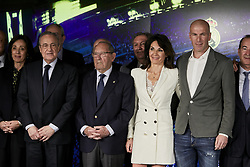 Zinedine Zidane, his wife Veronique and Real Madrid's president Florentino Perez pose for the photographers during his presentation as the new Real Madrid's head coach at Santiago Bernabeu stadium in Madrid, Spain, March 11, 2019. Zidane comes back to Real Madrid after 278 days and will replace Argentinian Santiago Hernan Solari and signs until 2022. Photo by A. Perez Meca/AlterPhotos/ABACAPRESS/.COM
