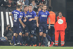 October 14, 2017 - Turin, Italy - Lazio forward Ciro Immobile (17) celebrates with his teammates after scoring his goal during the Serie A football match n.8 JUVENTUS - LAZIO on 14/10/2017 at the Allianz Stadium in Turin, Italy. (Credit Image: © Matteo Bottanelli/NurPhoto via ZUMA Press)