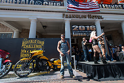 Josh Owens was a big help at the Buffalo Chip Legends Ride fundraising auction in front of the Franklin Hotel in Deadwood as part of the Legends Ride during the annual Sturgis Black Hills Motorcycle Rally.  SD, USA.  August 8, 2016.  Photography ©2016 Michael Lichter.