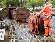 Industrial coal mining heritage display, Festival Park shopping centre, Ebbw Vale, Blaenau Gwent, South Wales, UK