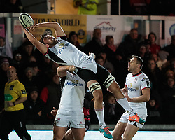 Ulster Rugby's Sean Reidy claims the high ball<br /> <br /> Photographer Simon King/Replay Images<br /> <br /> Guinness Pro14 Round 10 - Dragons v Ulster - Friday 1st December 2017 - Rodney Parade - Newport<br /> <br /> World Copyright © 2017 Replay Images. All rights reserved. info@replayimages.co.uk - www.replayimages.co.uk