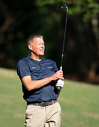 Uconn head football coach Randy Edsall during the Chick-fil-A Peach Bowl Challenge at the Ritz Carlton Reynolds, Lake Oconee, on Tuesday, April 30, 2019, in Greensboro, GA. (Paul Abell via Abell Images for Chick-fil-A Peach Bowl Challenge)