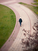 A tilt shift view of a person walking along a brick walkway in a park. Missoula Photographer, Missoula Photographers, Montana Pictures, Montana Photos, Photos of Montana