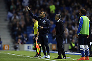 Brighton Assistant Manager, Colin Calderwood and Brighton Manager, Chris Hughton during the Sky Bet Championship play-off second leg match between Brighton and Hove Albion and Sheffield Wednesday at the American Express Community Stadium, Brighton and Hove, England on 16 May 2016.