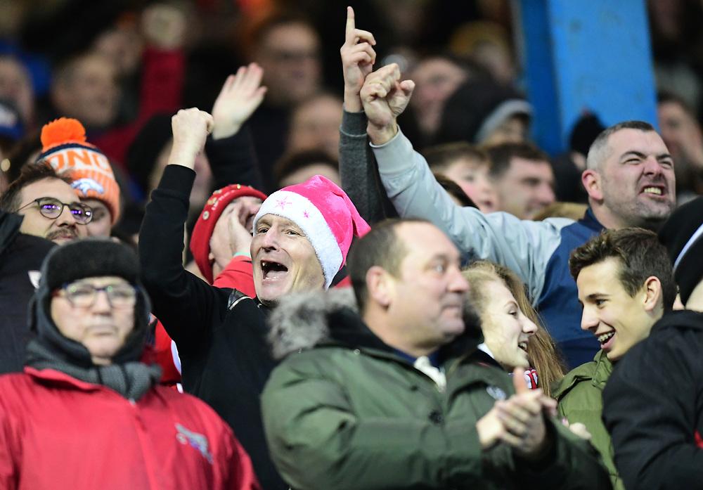 Middlesbrough fans celebrate their teams first goal <br /> <br /> Photographer Chris Vaughan/CameraSport<br /> <br /> The EFL Sky Bet Championship - Sheffield Wednesday v Middlesbrough - Saturday 23rd December 2017 - Hillsborough - Sheffield<br /> <br /> World Copyright © 2017 CameraSport. All rights reserved. 43 Linden Ave. Countesthorpe. Leicester. England. LE8 5PG - Tel: +44 (0) 116 277 4147 - admin@camerasport.com - www.camerasport.com