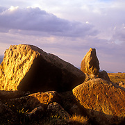 Sunset across boulders at 14,000 feet above sea level a top Colorado's Mount Evans.