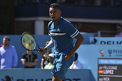 June 22, 2018 - London, United Kingdom - Nick Kyrgios of Australia celebrates after his victory over Feliciano Lopez of Spain during their 1/4 final match on Day 5 of the Fever-Tree Championships at Queens Club on June 22, 2018 in London, United Kingdom. (Credit Image: © Alberto Pezzali/NurPhoto via ZUMA Press)