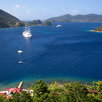 France, Guadeloupe, Les Saintes. View from For Napoleon of the bay at Les Saintes on Terre-de-Haut island, Guadeloupe.