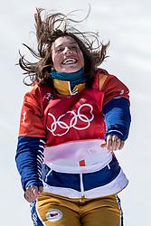 PYEONGCHANG, SOUTH KOREA - FEBRUARY 16:  Eva Samkova of Czech Republic celebrates on the podium after the Big Final of the Women's Snowboard Cross at Phoenix Snow Park on February 16, 2018 in Pyeongchang-gun, South Korea.  Photo by Ronald Hoogendoorn / Sportida