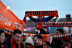 "Blackpool fans outside the stadium hold up Oyston Out scarves in protest prior to the beginning of the Emirates FA Cup, third round match at Bloomfield Road, Blackpool. PRESS ASSOCIATION Photo. Picture date: Saturday January 5, 2019. See PA story SOCCER Blackpool. Photo credit should read: Anthony Devlin/PA Wire. RESTRICTIONS: EDITORIAL USE ONLY No use with unauthorised audio, video, data, fixture lists, club/league logos or ""live"" services. Online in-match use limited to 120 images, no video emulation. No use in betting, games or single club/league/player publications."