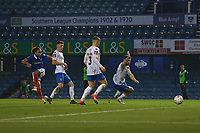 Football - 2020 / 2021 Emirates FA Cup - Round 2 - Portsmouth vs. Kings Lynn Town - Fratton Park<br /> <br /> Portsmouth's Marcus Harness fires in goal number four at Fratton Park during the FA Cup fixture at Fratton Park <br /> <br /> COLORSPORT/SHAUN BOGGUST