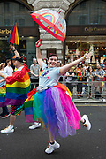 Members of the Lesbian, Gay, Bisexual and Transgender (LGBT) community take part in the annual Pride Parade on 6th July, 2019 in London,United Kingdom. (photo by Claire Doherty/In Pictures via Getty Images)