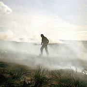 Charlie Woof, a gamekeeper on the Bransdale estate uses a beater to put out the fire after heather burning on the North York Moors, Bransdale, North Yorkshire, UK. Heather is burnt to regenerate it, the more patches there are on the moor the better it is, producing more habitat for the grouse, and that has a knock on effect for the wader population as well.