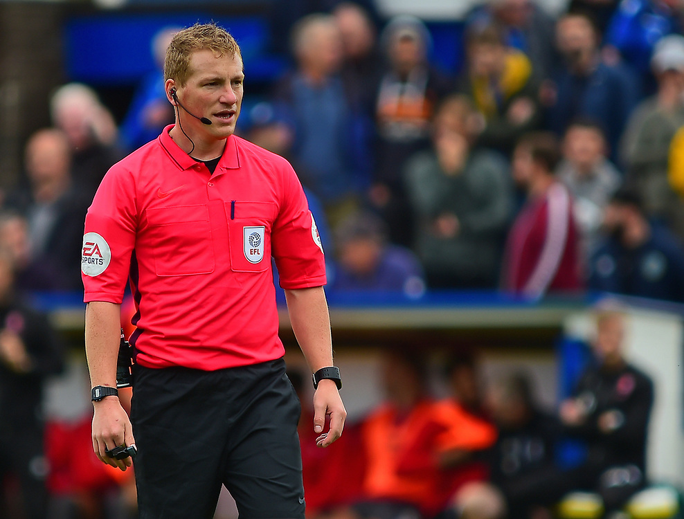 Referee John Busby<br /> <br /> Photographer Andrew Vaughan/CameraSport<br /> <br /> The EFL Sky Bet League One - Macclesfield Town v Lincoln City - Saturday 15th September 2018 - Moss Rose - Macclesfield<br /> <br /> World Copyright © 2018 CameraSport. All rights reserved. 43 Linden Ave. Countesthorpe. Leicester. England. LE8 5PG - Tel: +44 (0) 116 277 4147 - admin@camerasport.com - www.camerasport.com