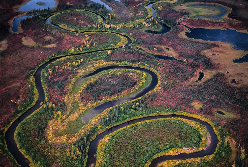 Aerial view, Kobuk River, September, Kobuk Valley National Park, Alaska, USA