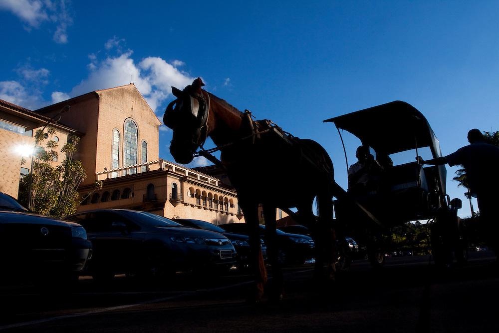 Araxa_MG, Brasil...Charrete em frente ao Ouro Minas Grande Hotel no Complexo do Barreiro...The charriot next to a Ouro Minas Grande Hotel in Barreiro Complex...Foto: MARCUS DESIMONI / NITRO