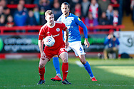Accrington Stanley forward Billy Kee (29) shields the ball  during the EFL Sky Bet League 1 match between Accrington Stanley and Portsmouth at the Fraser Eagle Stadium, Accrington, England on 27 October 2018.