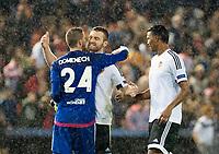 (L-R) Valencia's  Jaume Domenech, Shkodran Mustafi and Santos  during Champions league match. October 20, 2015. (ALTERPHOTOS/Javier Comos)