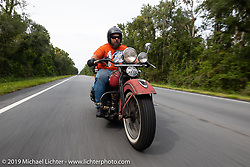 Richard Kaylor riding his 1948 Harley-Davidson Panhead in the Cross Country Chase motorcycle endurance run from Sault Sainte Marie, MI to Key West, FL. (for vintage bikes from 1930-1948). 287 mile ride of Stage-8 from Tallahassee to Lakeland, FL USA. Friday, September 13, 2019. Photography ©2019 Michael Lichter.