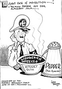 cartoon shows a very unhappy Adolf Hitler whose alphabet soup-spelling the names of Lindbergh and Wheeler-has been spoiled by 'Too much Pepper,' Senator Claude Pepper from Florida.  (Pepper, 'Diary,' May 31-June 1, 1941).  Several days later, on June 4, 1941, Claude Pepper delivered another speech
