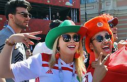 June 14, 2018 - Saint Petersburg, Russia - June 14, 2018. - Russia, Saint Petersburg. - Football fans from Morocco visit 2018 FIFA World Cup Fan Fest. (Credit Image: © Russian Look via ZUMA Wire)