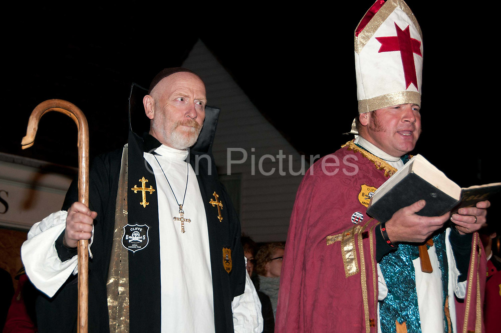 Lewes, Sussex. Bonfire Night November 5th 2013. Cliffe Bonfire Society priests preach before the parading begins