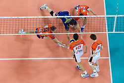 Milan Rasic, Daniel Lewis and Andrej Flajs of ACH during volleyball match between ACH Volley (SLO) and Jastrzebski Wegiel (POL) in 6th Round of 2011 CEV Champions League, on January 12, 2011 in Arena Stozice, Ljubljana, Slovenia. (Photo By Vid Ponikvar / Sportida.com)