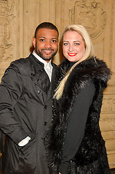 Singer JONATHAN 'JB' GILL and his wife CHLOE TANGNEY at the opening night of Amaluna by Cirque Du Soleil at The Royal Albert Hall, London on 19th January 2016.
