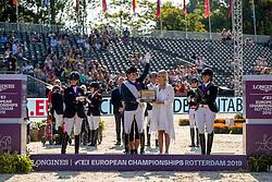Podium Freestyle, Grade IV, Voets Sanne, NED, Etzner Jakobsson Louise, SWE, Claeys Manon, BEL <br /> European Championship Dressage<br /> Rotterdam 2019<br /> © Hippo Foto - Dirk Caremans