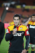 Mils Muliaina during the post game presentation to mark his 100th game , Investec Super 15 Rugby match, Chiefs v Stormers, at Waikato Stadium, Hamilton, New Zealand, Saturday 14 May 2011. Photo: Dion Mellow/photosport.co.nz