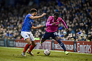 Portsmouth Defender, Anton Walkes (2) and Queens Park Rangers Midfielder, Bright Osayi-Samuel (20) during the The FA Cup fourth round match between Portsmouth and Queens Park Rangers at Fratton Park, Portsmouth, England on 26 January 2019.