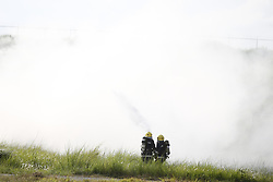 June 23, 2017 - Kathmandu, Nepal - Nepalese firefighters extinguish a fire on a dummy aircraft during a fire drill for safety measures inside the Tribhuvan International Airport in Kathmandu, Nepal on Friday, June 23, 2017. The runway was closed for thirty minutes for the drill. (Credit Image: © Skanda Gautam via ZUMA Wire)